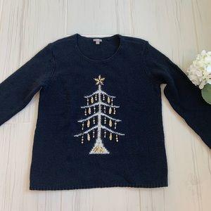 J Jill black sequin Christmas Tree Sweater M